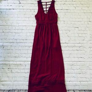 Deep Red Maxi Dress - Sm